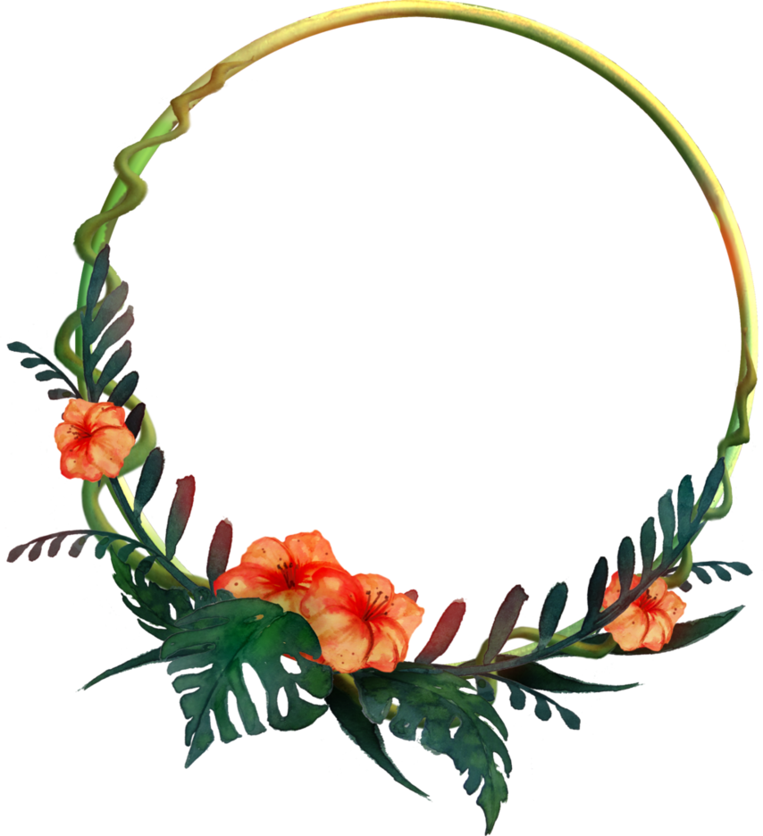 Tropical png. Round frame by