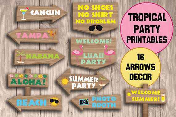 Tropical clipart tropical party. Decorations printables
