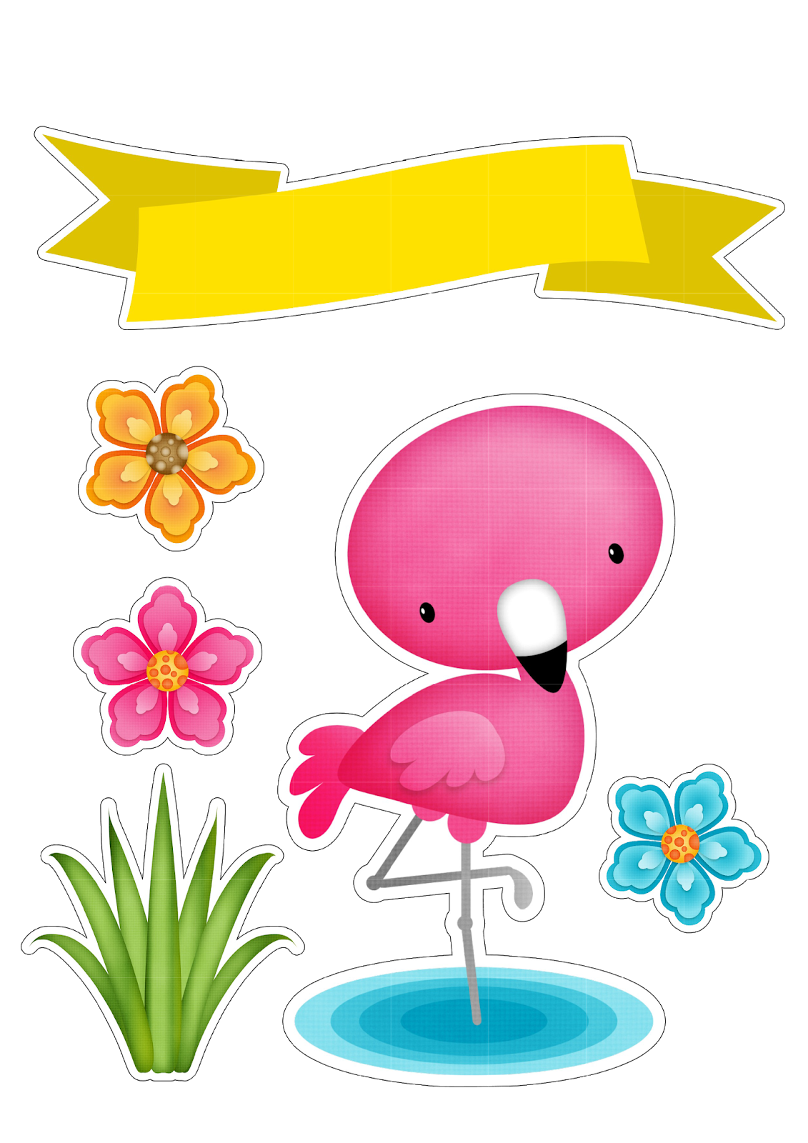 Tropical cupcake toppers png. Ana s hobby flamingo