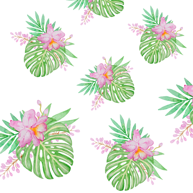 Flores png vector. Tropical leaf with flower