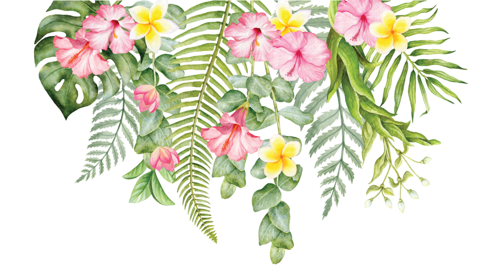 Tropical floral png. Individual flowers for greenery