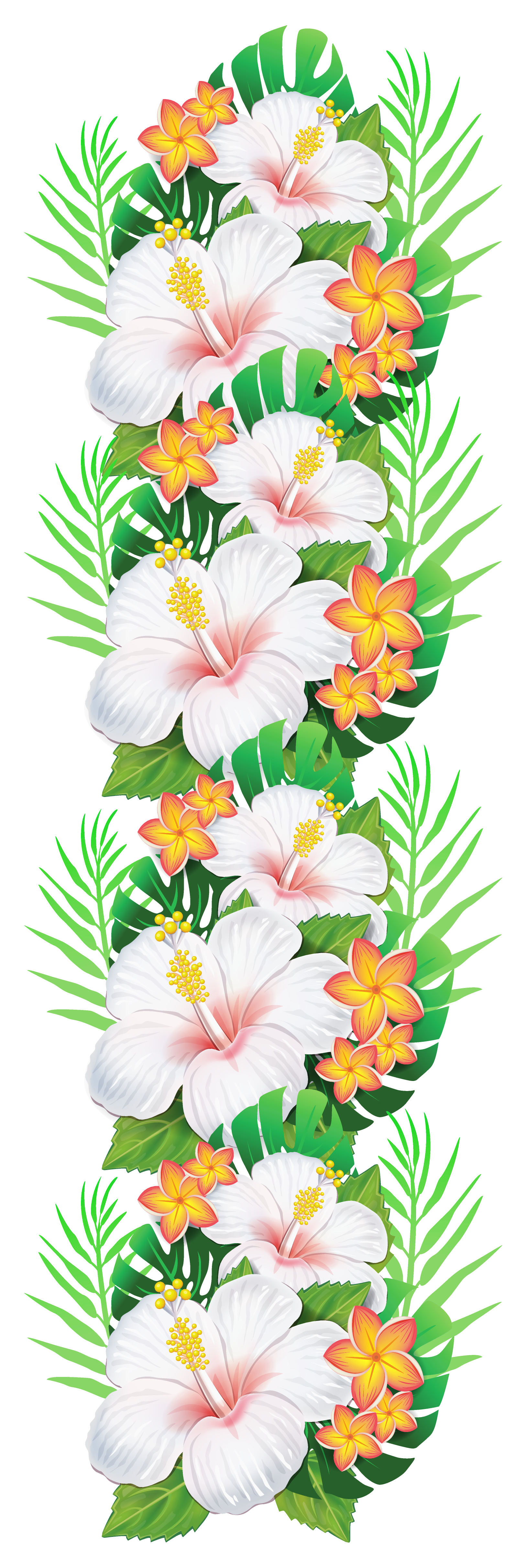 Tropical print png. White exotic flowers decoration