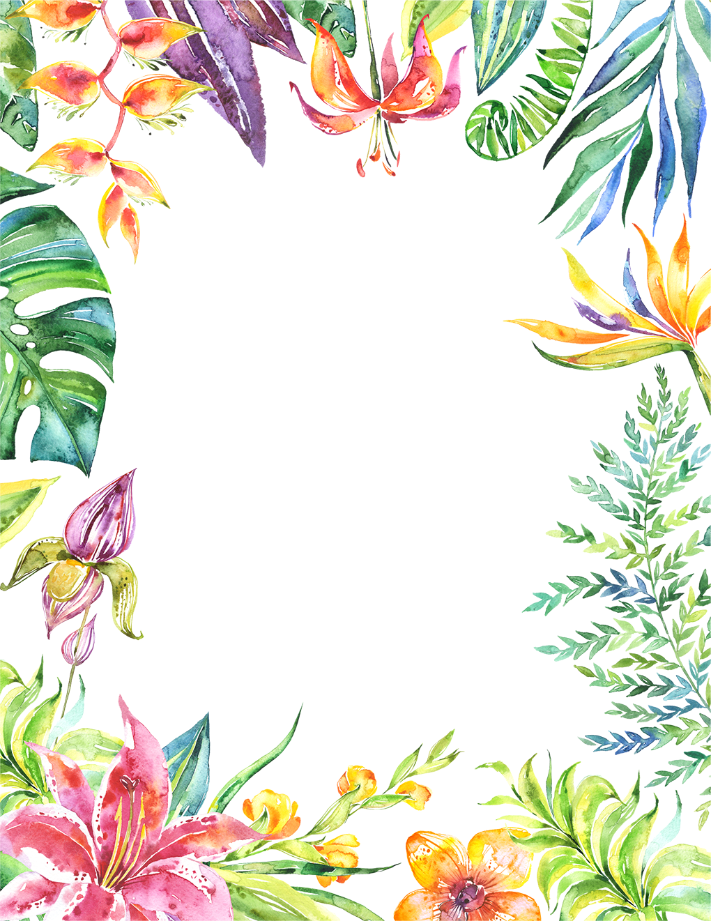 Tropical frame png. Leaves flowers plants border