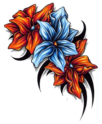 Tropical flower tattoo png. Floral tattoos designs yh