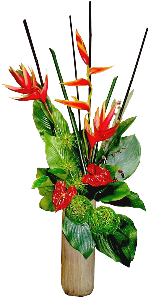 Tropical flower vase png. Arrangement in stone by