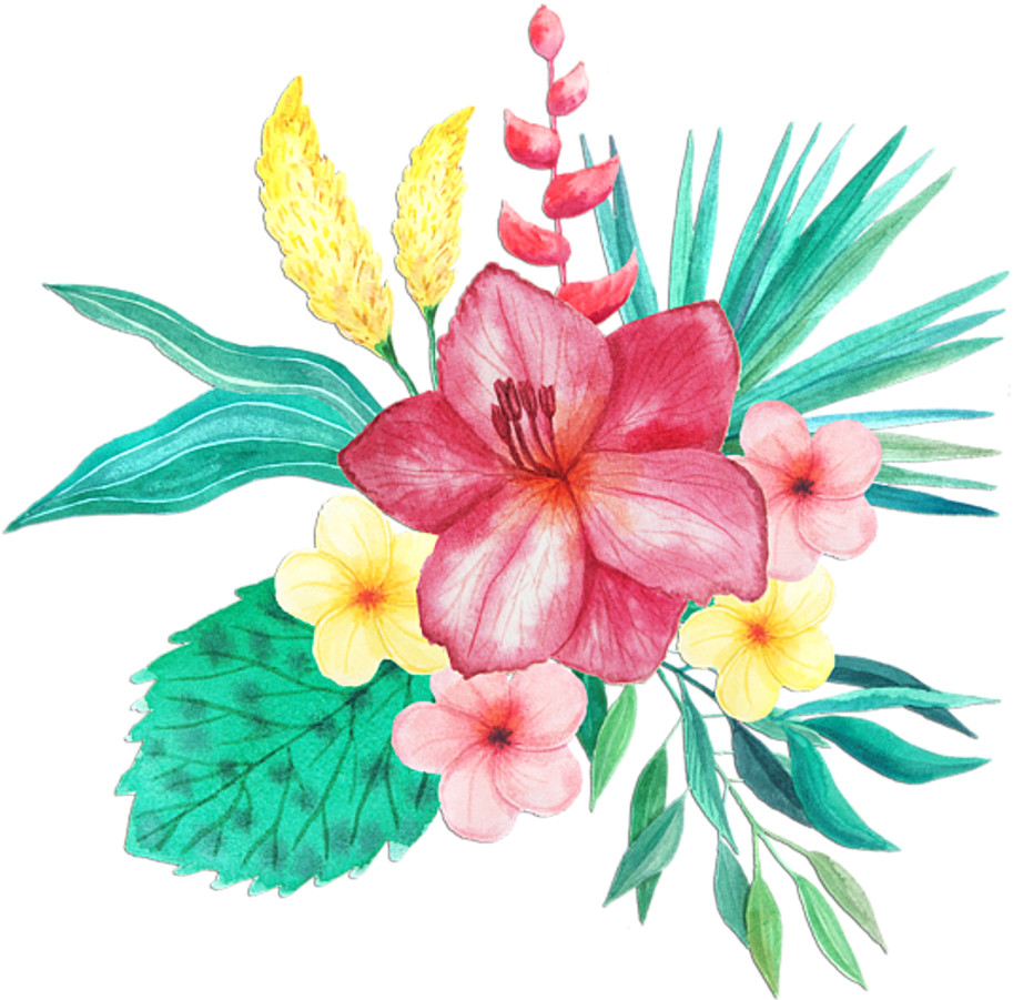 Tropical flower watercolor png. Download bleed area may