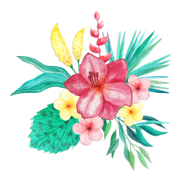 Tropical flower watercolor png. Bouquet tote bag for