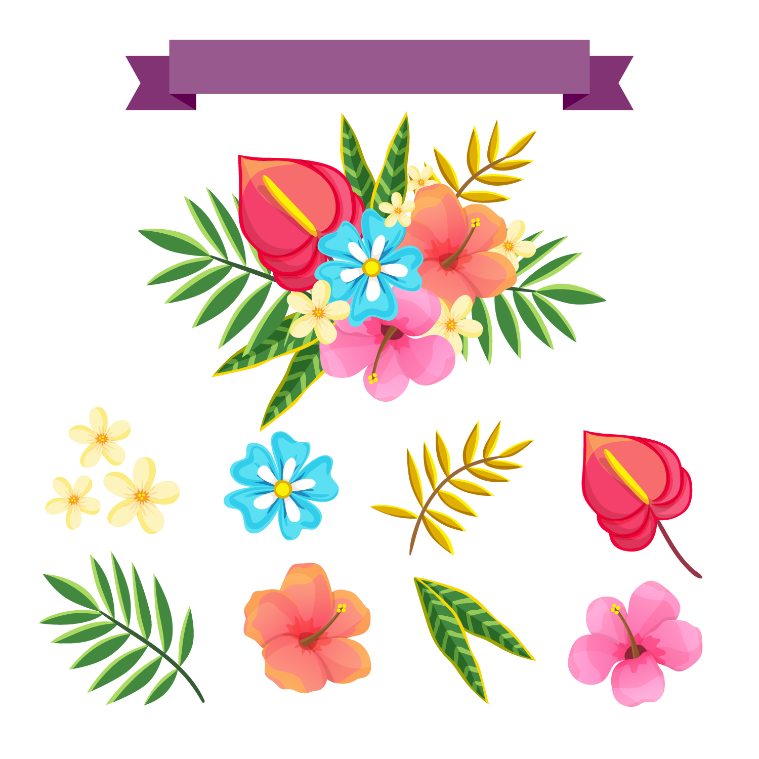 Tropical flower watercolor png. And leaf vector transprent