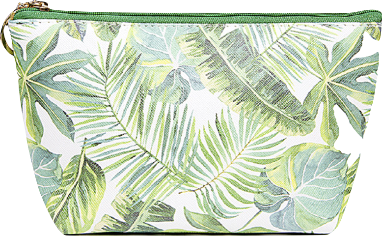 Tropical leaf pattern png. Pouch cosmetic bag morrow