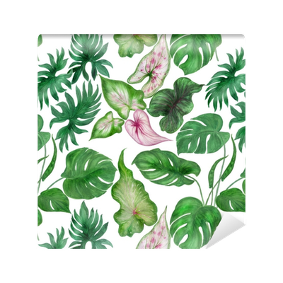 Tropical leaves watercolor png. Painting seamless pattern with
