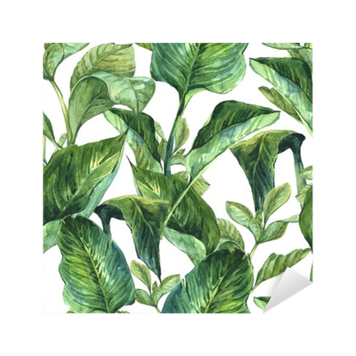 Tropical leaves watercolor png. With sticker pixers we