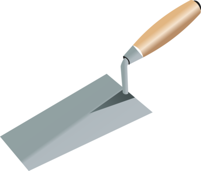 Trowel vector crossed. Masonry tool brick free