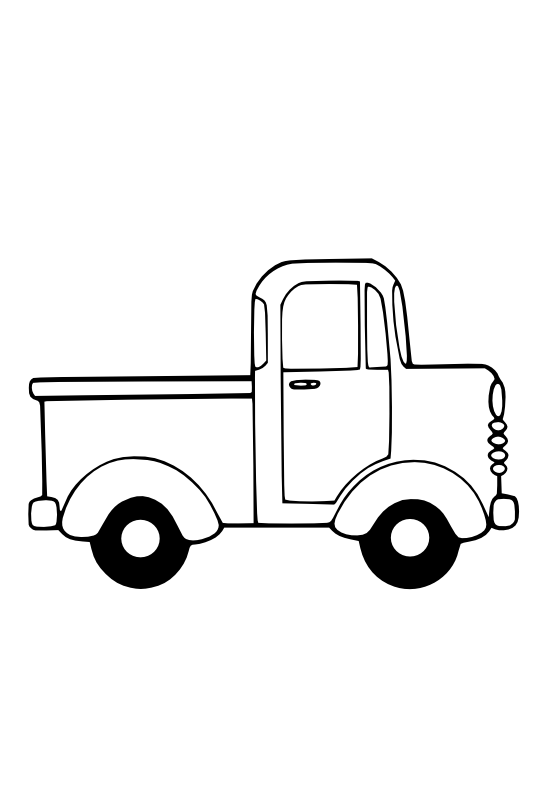 Truck clipart black and white.