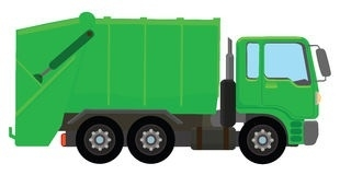 Truck clipart garbage truck. Green letters in