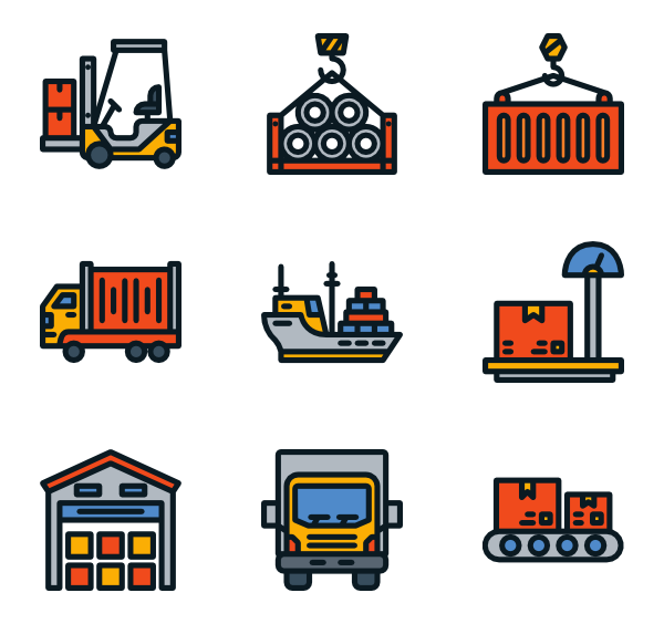 Trucking vector transportation truck. Icons free logistics