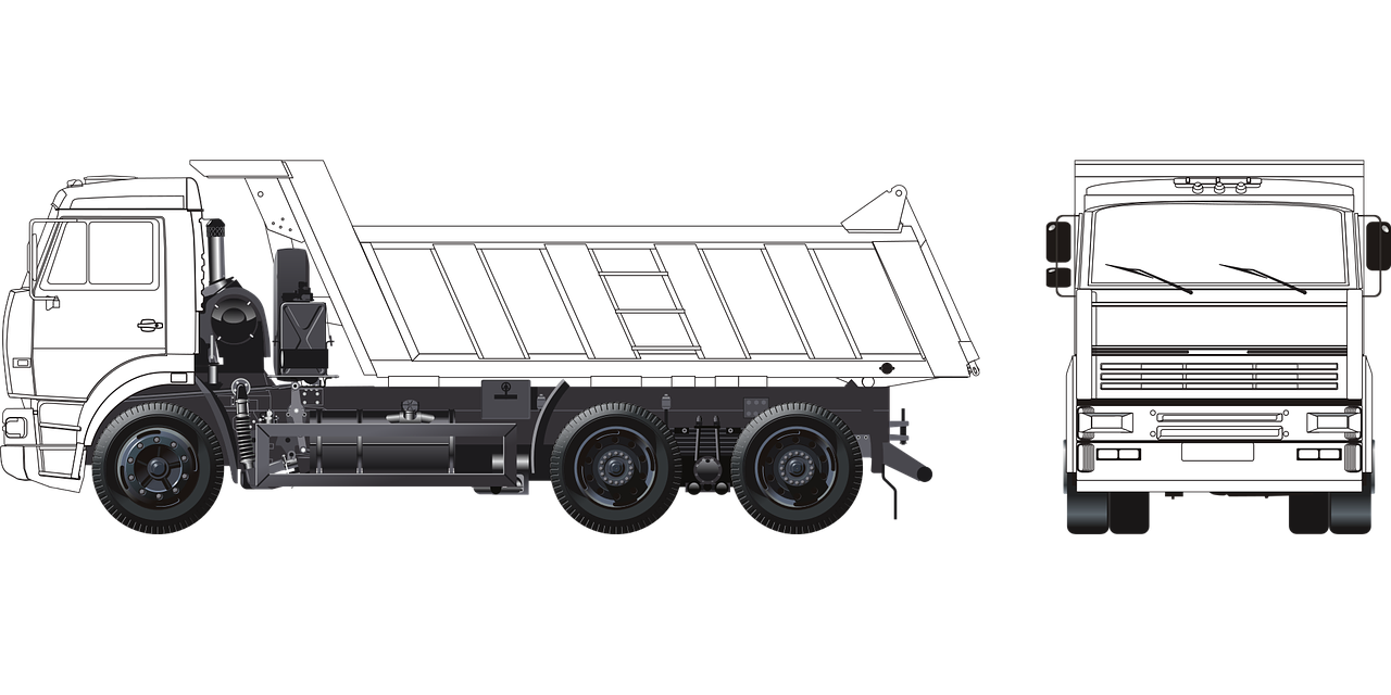 Trucking vector. Truck kamaz russian load