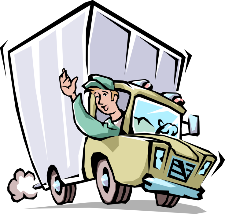 Vector van surfing. Moving company mover waves