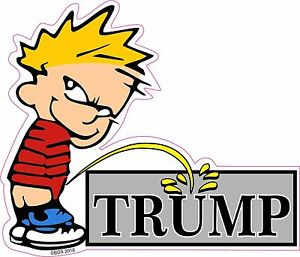 Calvin pee on donald. Trump clipart decal graphic freeuse download