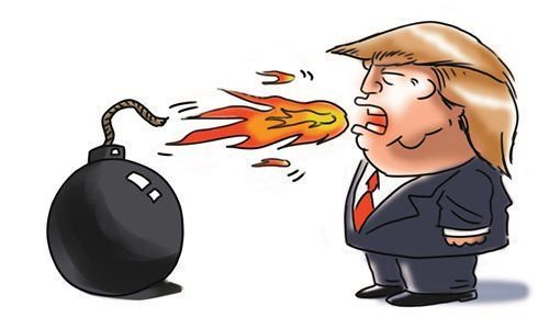 Trump clipart provocation. Global times on twitter