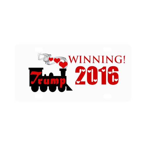 Trump train png. Victory classic license plate