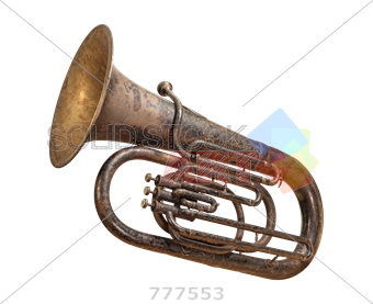 Sousaphone drawing wind instrument. Stock photo of old
