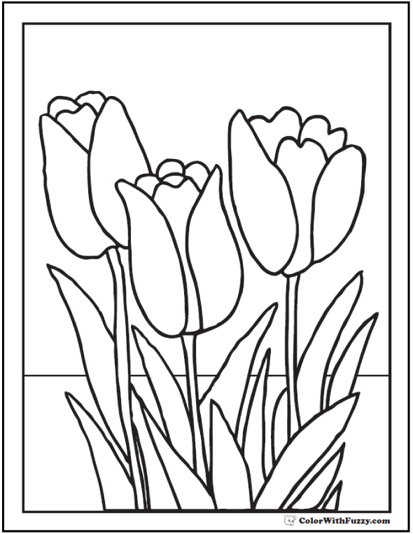 Tulip clipart colouring page. Flower coloring pages pdf
