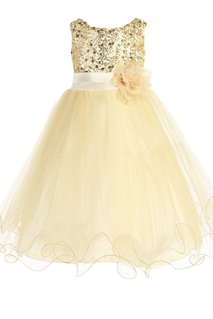 Tulle skirt png. Gold sequin party dress