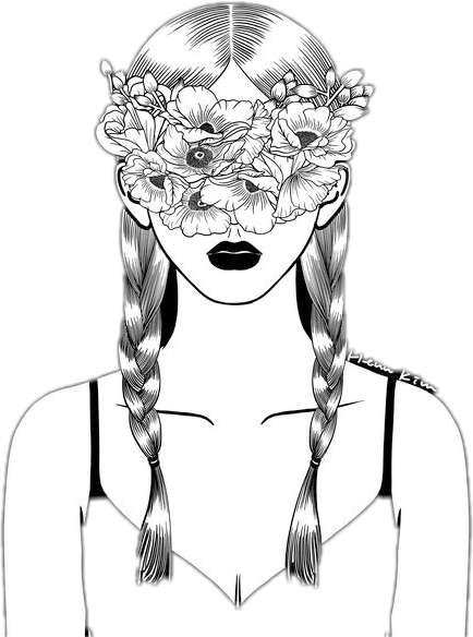 Tumbler drawing hippie. Overlay girl flowers braids