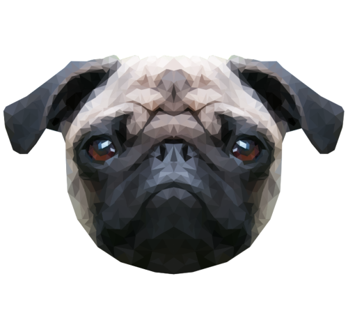 Pug head png. Geometric vector animals tumblr