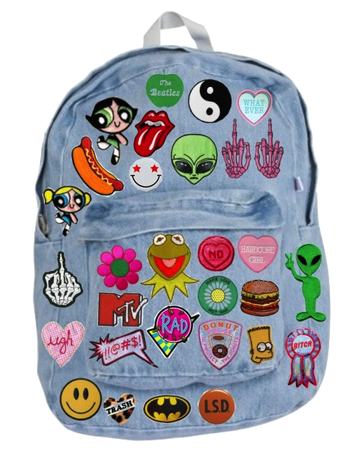 Tumblr backpack png. Patches on jean backpacks