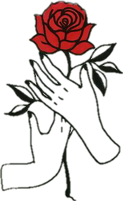 Tumblr clipart rose. Hands aesthetic draw