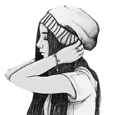 Artists drawing hipster. Vintage girl png by