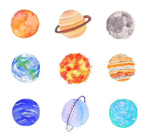 Tumblr planets png. Zodiac signs cute lil