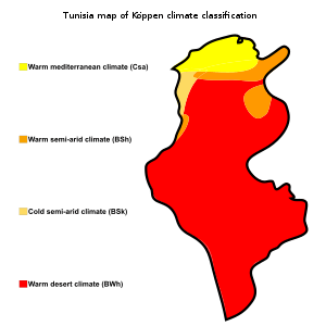 Tunisia. Map of kppen climate