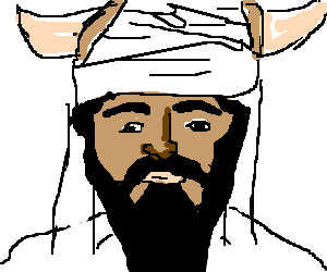 Turban drawing. Osama bin laden with
