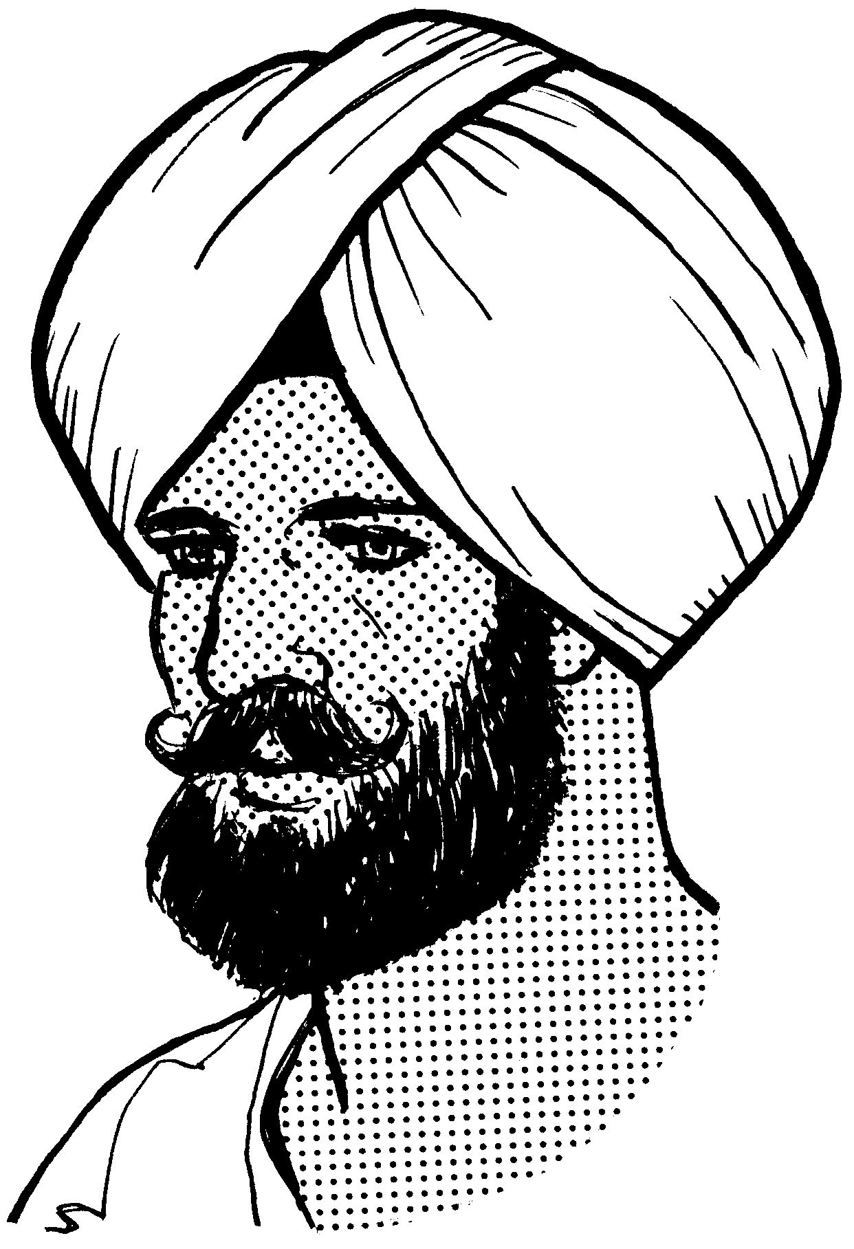 Turban drawing. Collection of punjabi