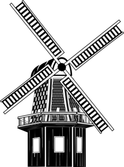 Vector windmill line drawing. Paper watermill computer icons