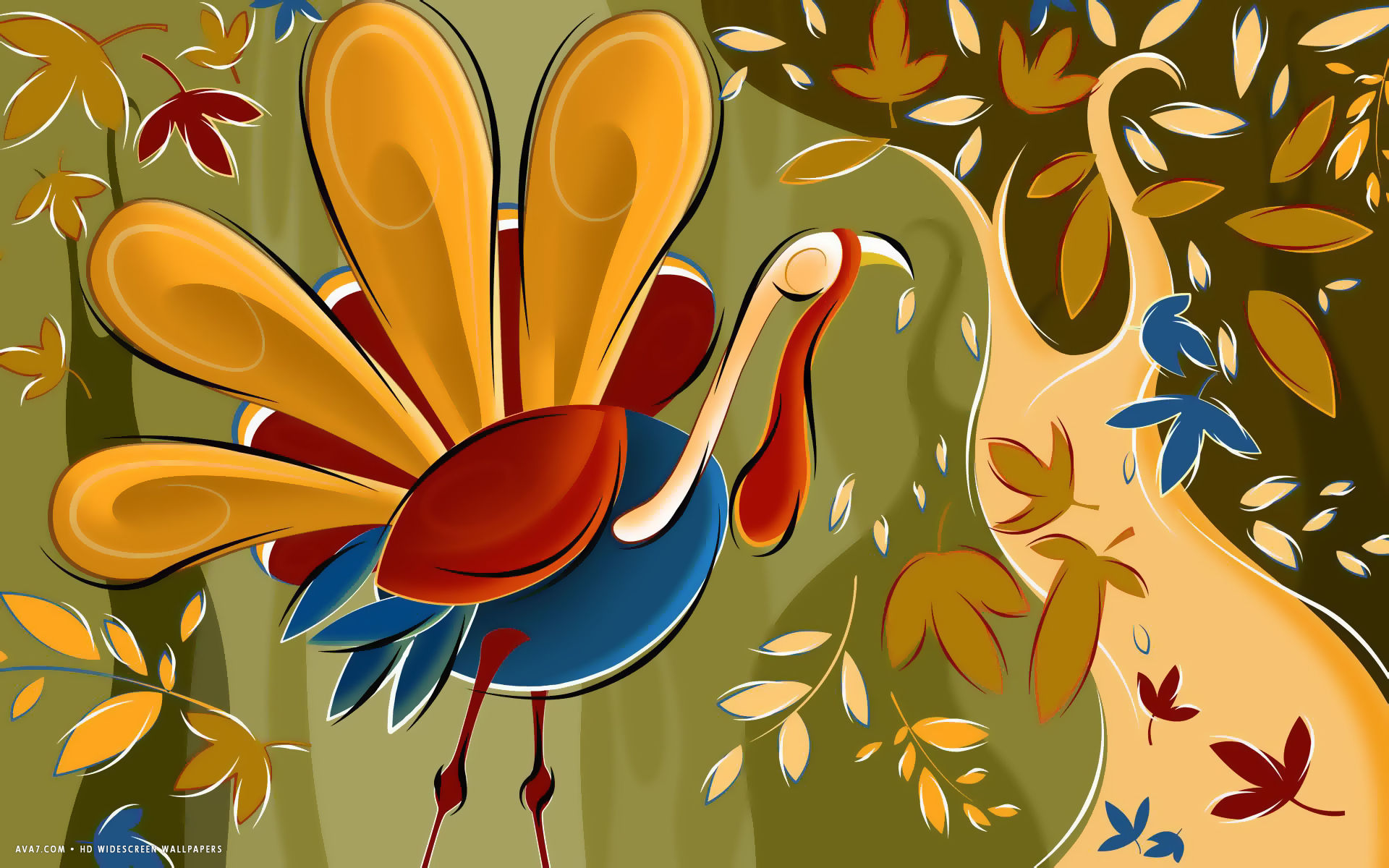 Turkey clip art artistic. Thanksgiving day falling leaves