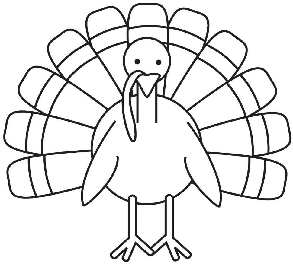 Turkey clip art coloring page. Printable pages of feathersprintable