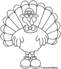 Turkey clip art coloring page. Fonts and free printables