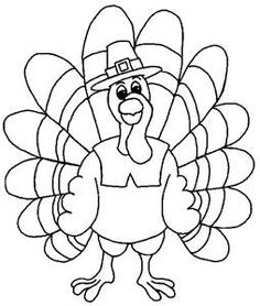 Turkey clip art coloring page. The cutest ever pop