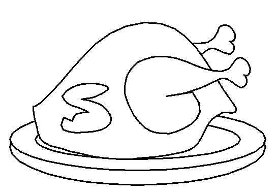 Turkey clip art coloring page. Special cooked drawing free