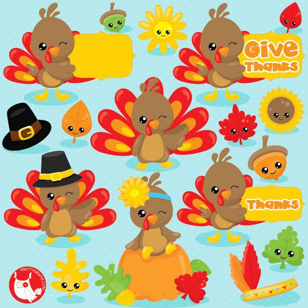 Turkey clip art vector. Thanksgiving clipart commercial use