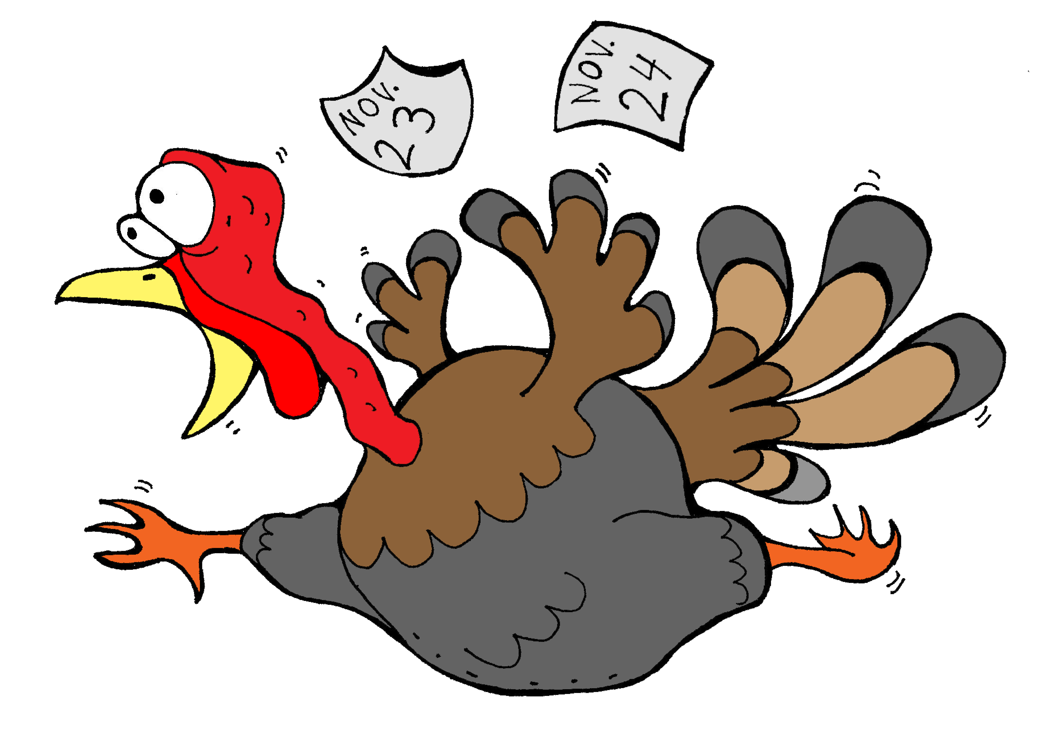 Turkey clip art vector. Scared transparent library rr