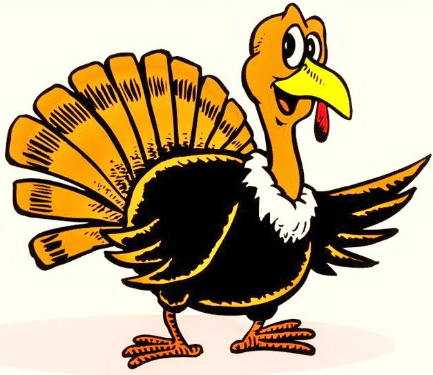 Turkey clip art vector. Funny thanksgiving icon