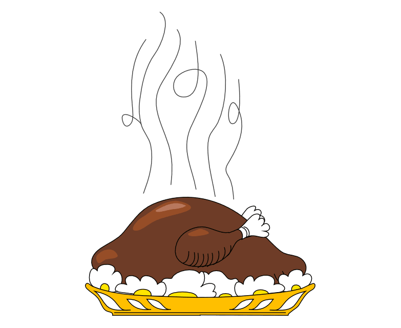 Drawing turkey cooked. Free thanksgiving clip art