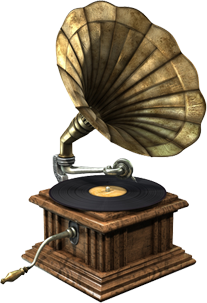 Turntables drawing antique thing. Gramophone machines and mechanisms