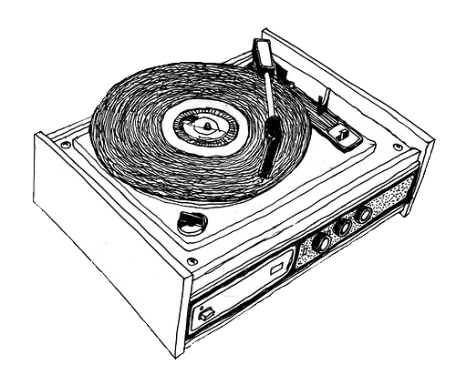 Turntables drawing vinyl player. Trans par en cy