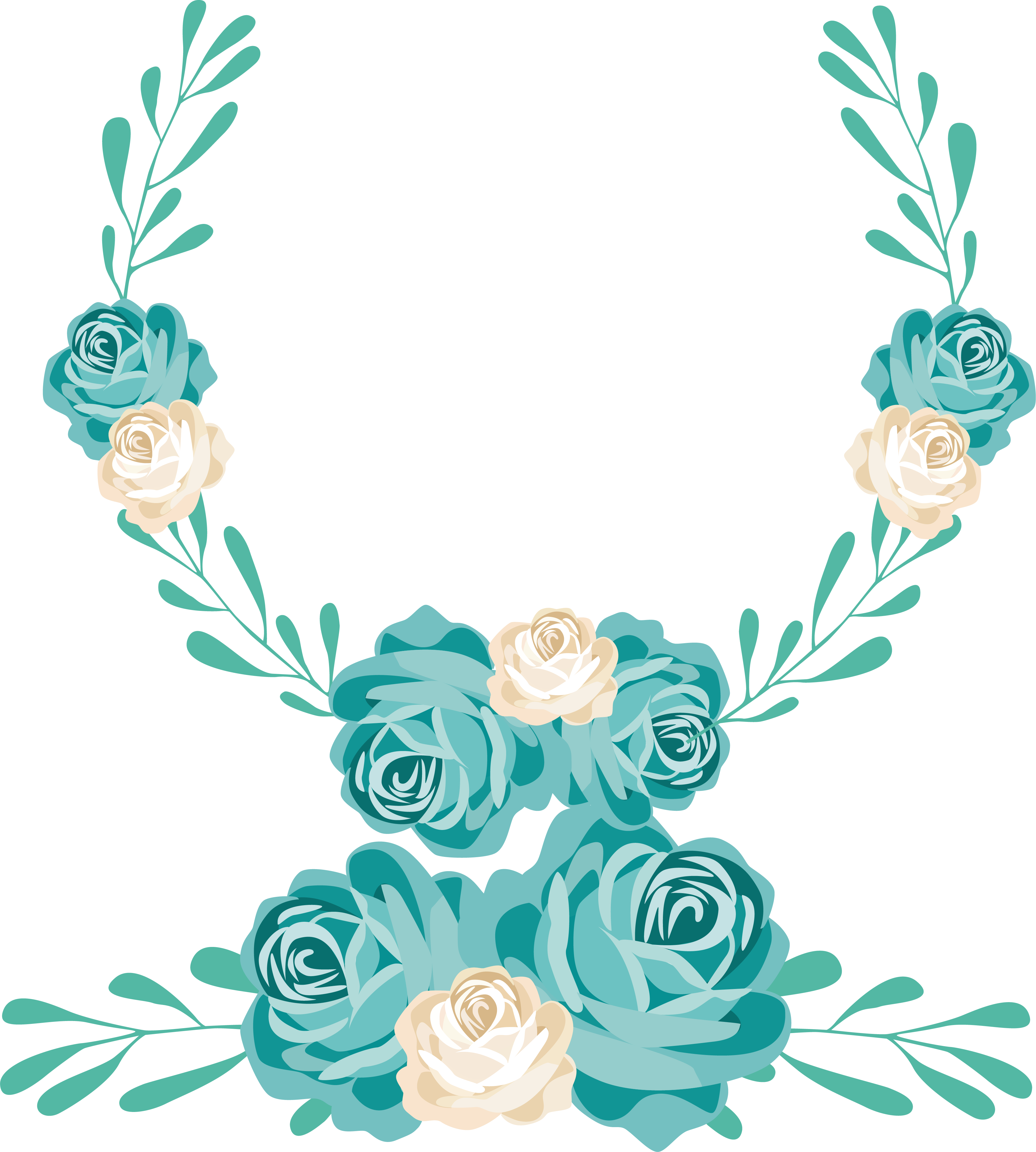 Turquoise flower png. Cartoon hand painted wedding