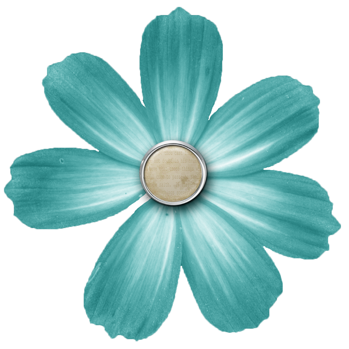 Turquoise flower png. Cropped brad fl teal